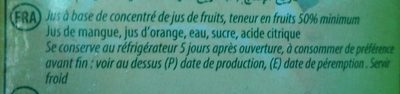 Nectar orange mangue - Ingrédients - fr