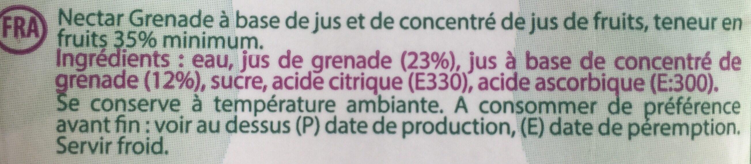 Nectar Grenade - Ingrédients - fr