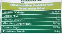 Jus de Pomme à Base de Concentré - Informations nutritionnelles