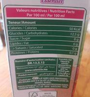 Valencia essentiel - Informations nutritionnelles - fr