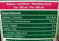 Essentiel Nectar Raisins Rouge - Nutrition facts