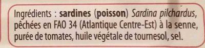 Sardines à la tomate - Ingrédients