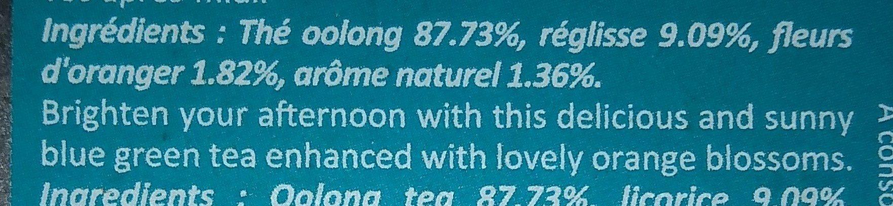 15 The Oolong Fleur Oranger - Ingrédients