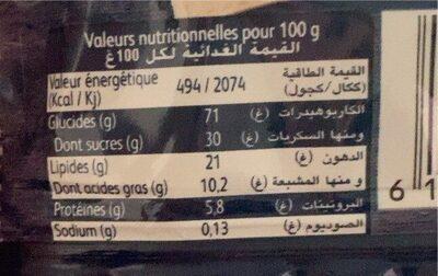 Top cookies - Nutrition facts - en
