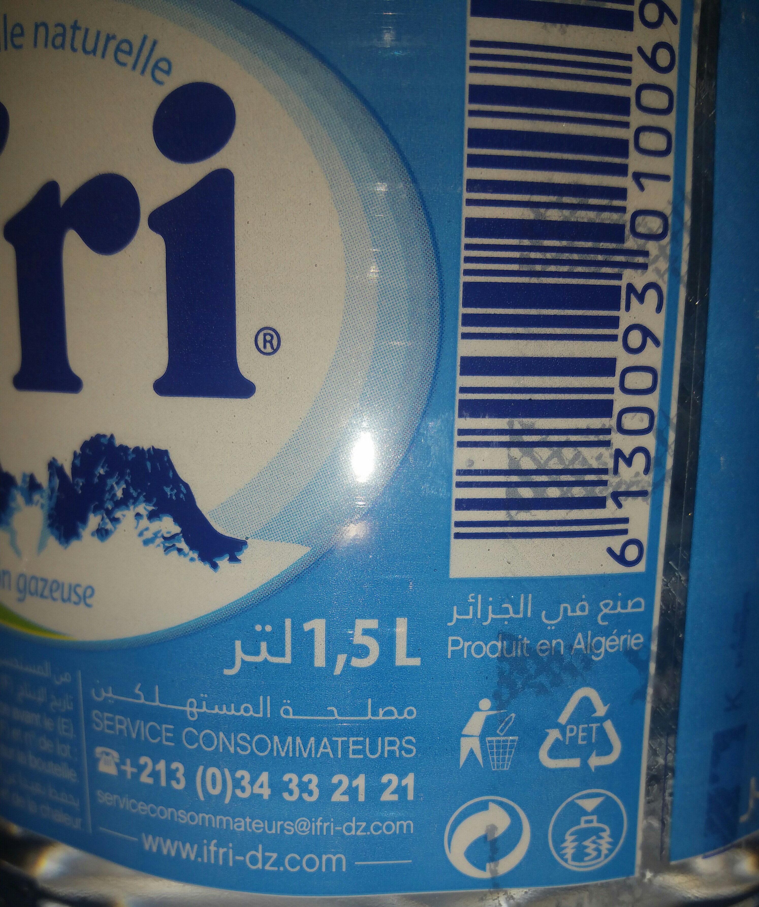 ifri Eau minérale naturelle إفري - حقائق غذائية - fr