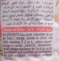 ifruit Jus d'orange carotte citron - المكونات - fr
