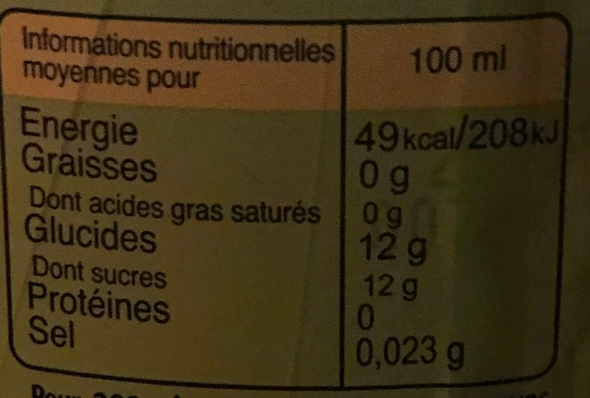 Ifri Citron - Informations nutritionnelles