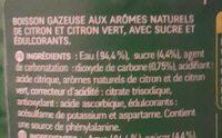 Boisson gazeuse aux arômes naturels de citron et citron vert - Ingredienti - fr