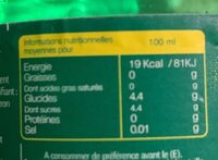 Boisson gazeuse aux arômes naturels de citron et citron vert - Valori nutrizionali - fr