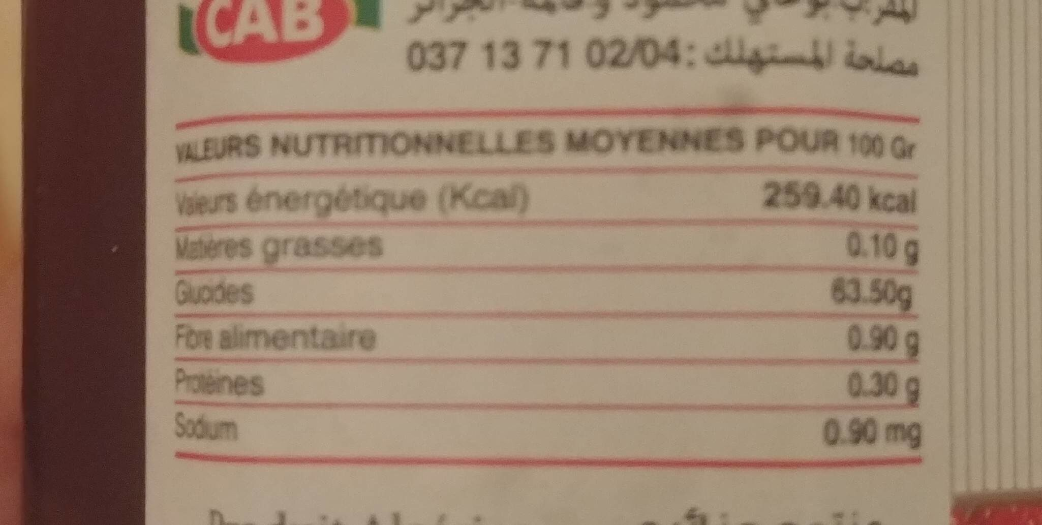 Confiture de fraise CAB - حقائق غذائية - fr