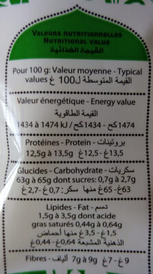 Couscous complet - Nutrition facts