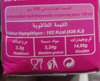 Obei lait gout fraise - حقائق غذائية - fr