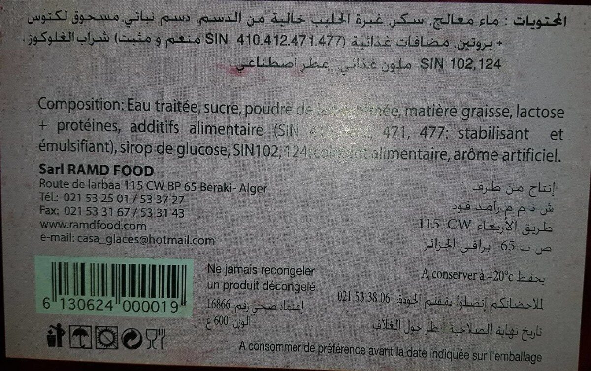 Délice Tarte Glacée - حقائق غذائية - fr