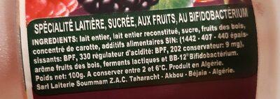 Acti+ et fruit au bifidus - حقائق غذائية - fr