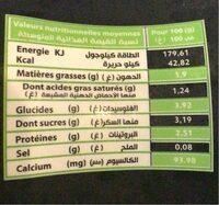 Raib au bifidus actif - حقائق غذائية - ar