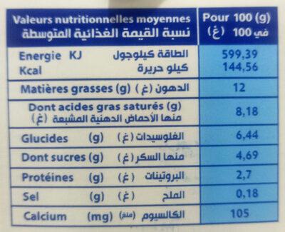 Crème Légère - حقائق غذائية