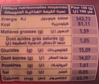 Yaourt lassi mangue - حقائق غذائية - fr