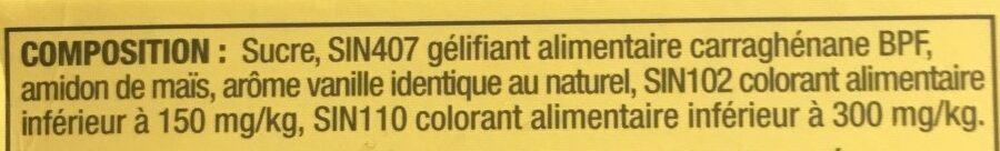 Flan arôme vanille - Ingredients