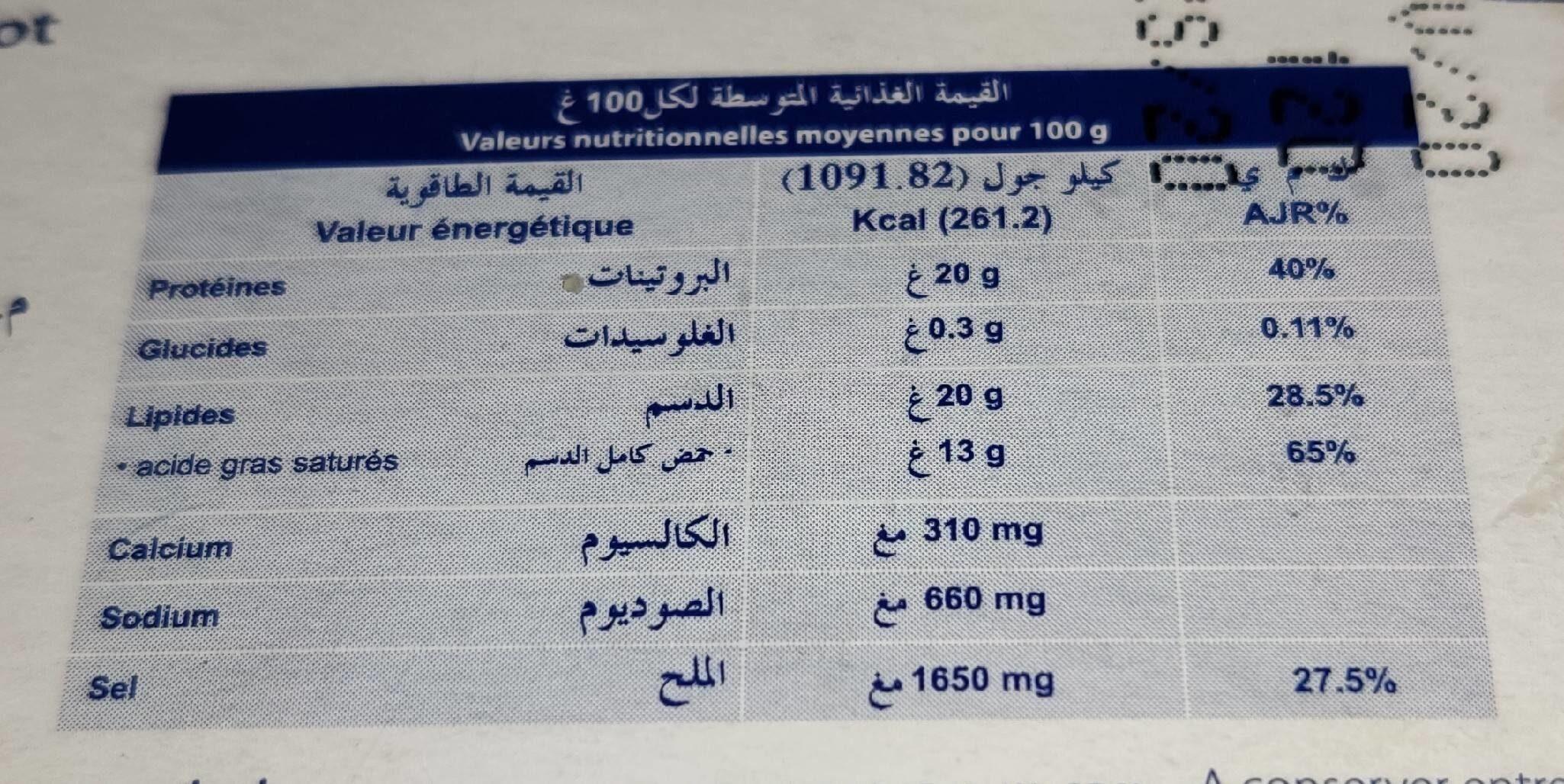 Camembert portion - حقائق غذائية - fr