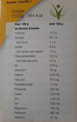 Flocons d'avoine Cœur de Céréales - المكونات - fr