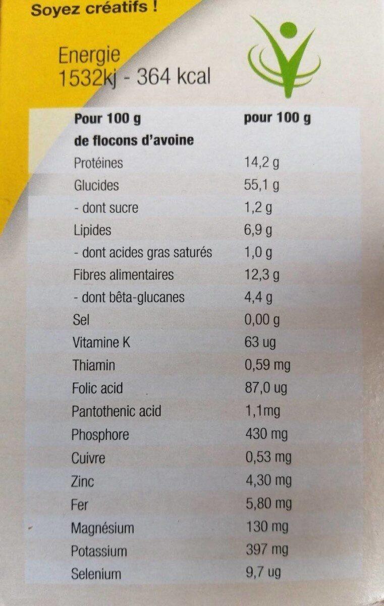 Flocons d'avoine Cœur de Céréales - حقائق غذائية - fr