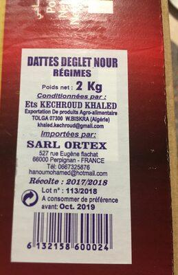 Dattes d'algerie - المكونات - fr