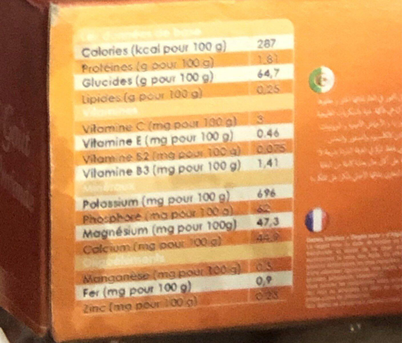Dattes d'algerie - حقائق غذائية - fr