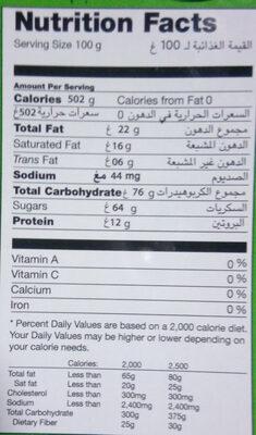 Nour charkia - حقائق غذائية - fr
