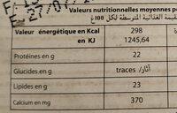 Coulommiers - Voedingswaarden