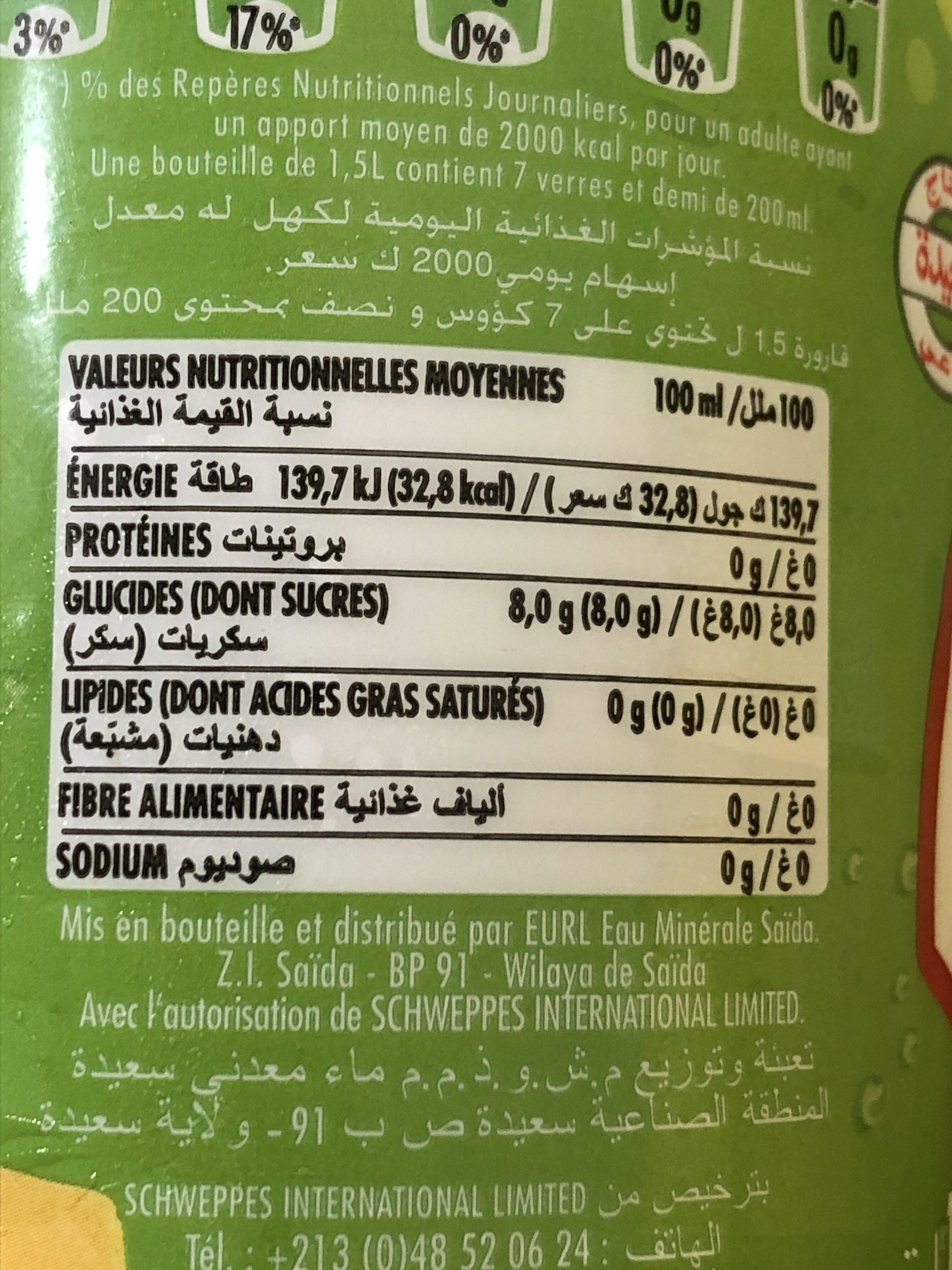 Boissons gazeuses au citron - Informations nutritionnelles - fr