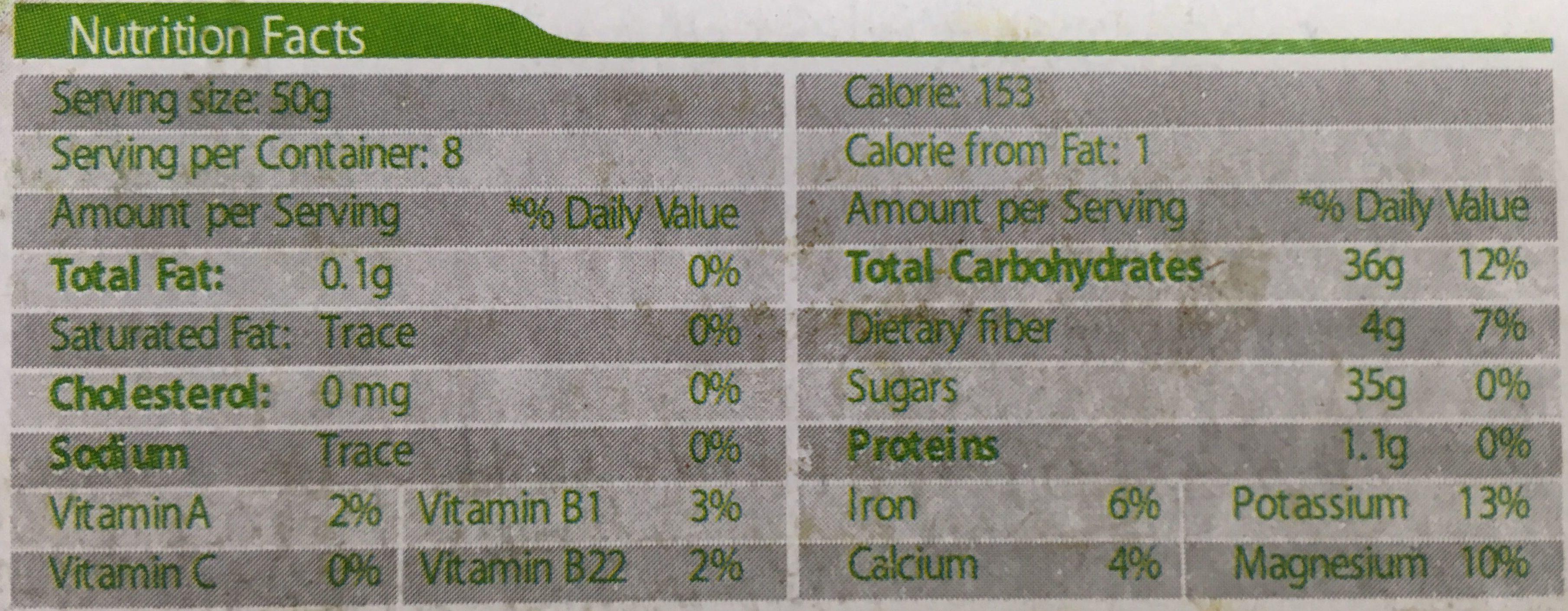 DATTES - Informations nutritionnelles - fr