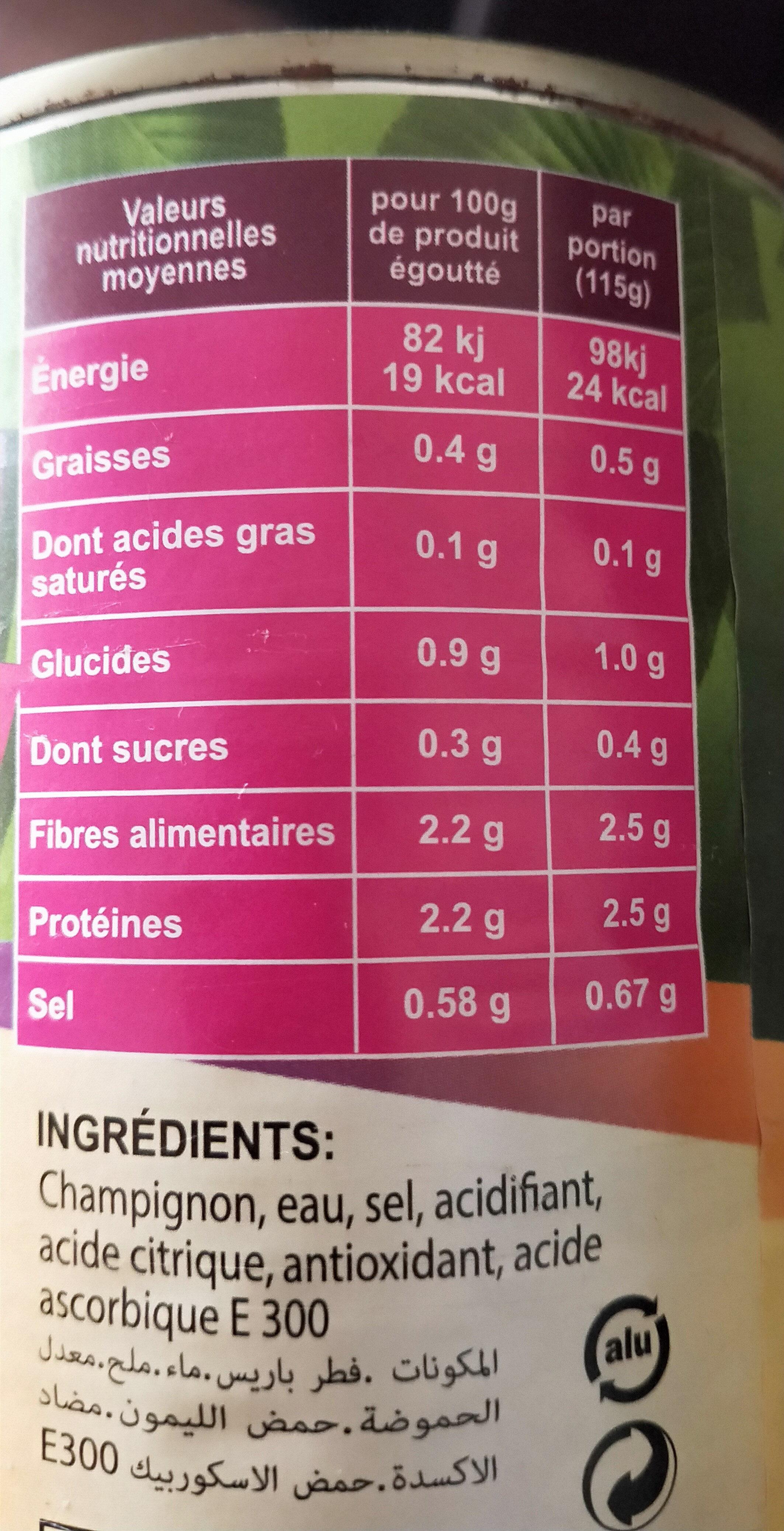 champignons de Paris entier - حقائق غذائية - fr