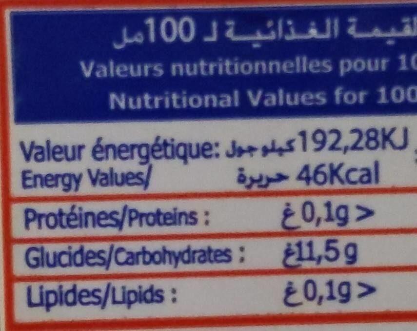 Jus de fruits - Informations nutritionnelles - fr