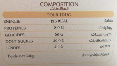 Qaâda Biscuit Lait Chocolat - Informations nutritionnelles - fr