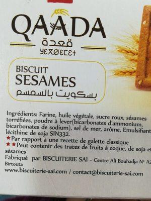 Qaada Biscuit sésames - المكونات - fr