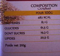 Qaada Biscuit sésames - حقائق غذائية - fr