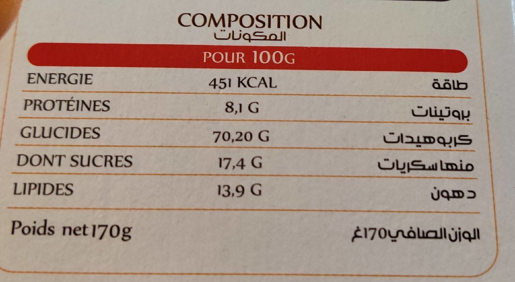 Biscuit Cannelle - Nutrition facts - fr