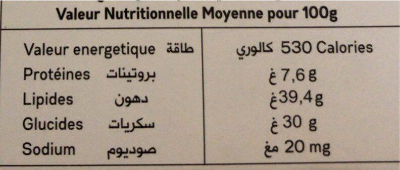 Noir & orange - حقائق غذائية - fr