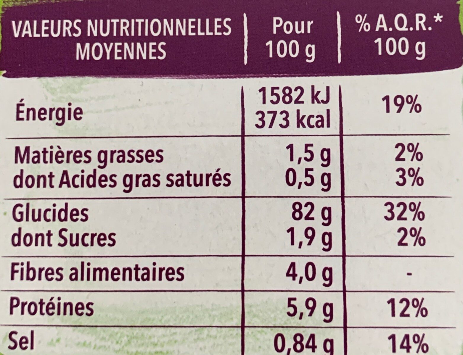 Tartines crac form - Informations nutritionnelles - fr