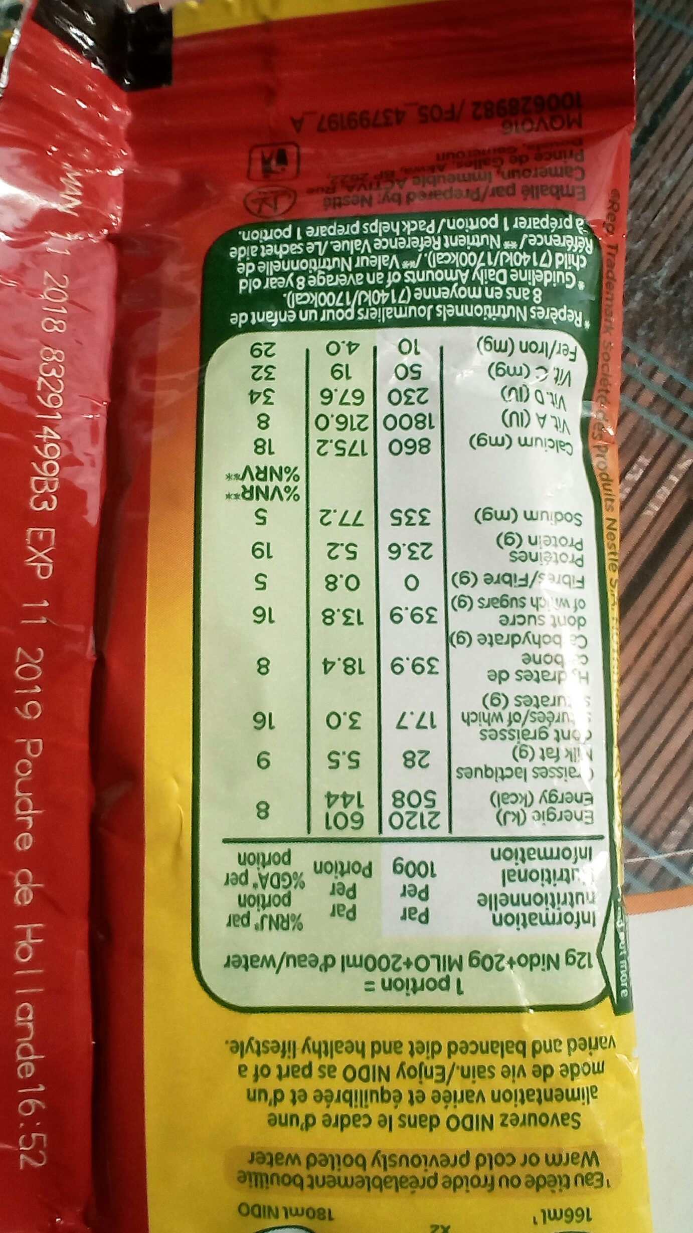 Nido - Nutrition facts