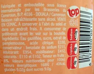 Top Pamplemousse Drink - Nutrition facts - fr