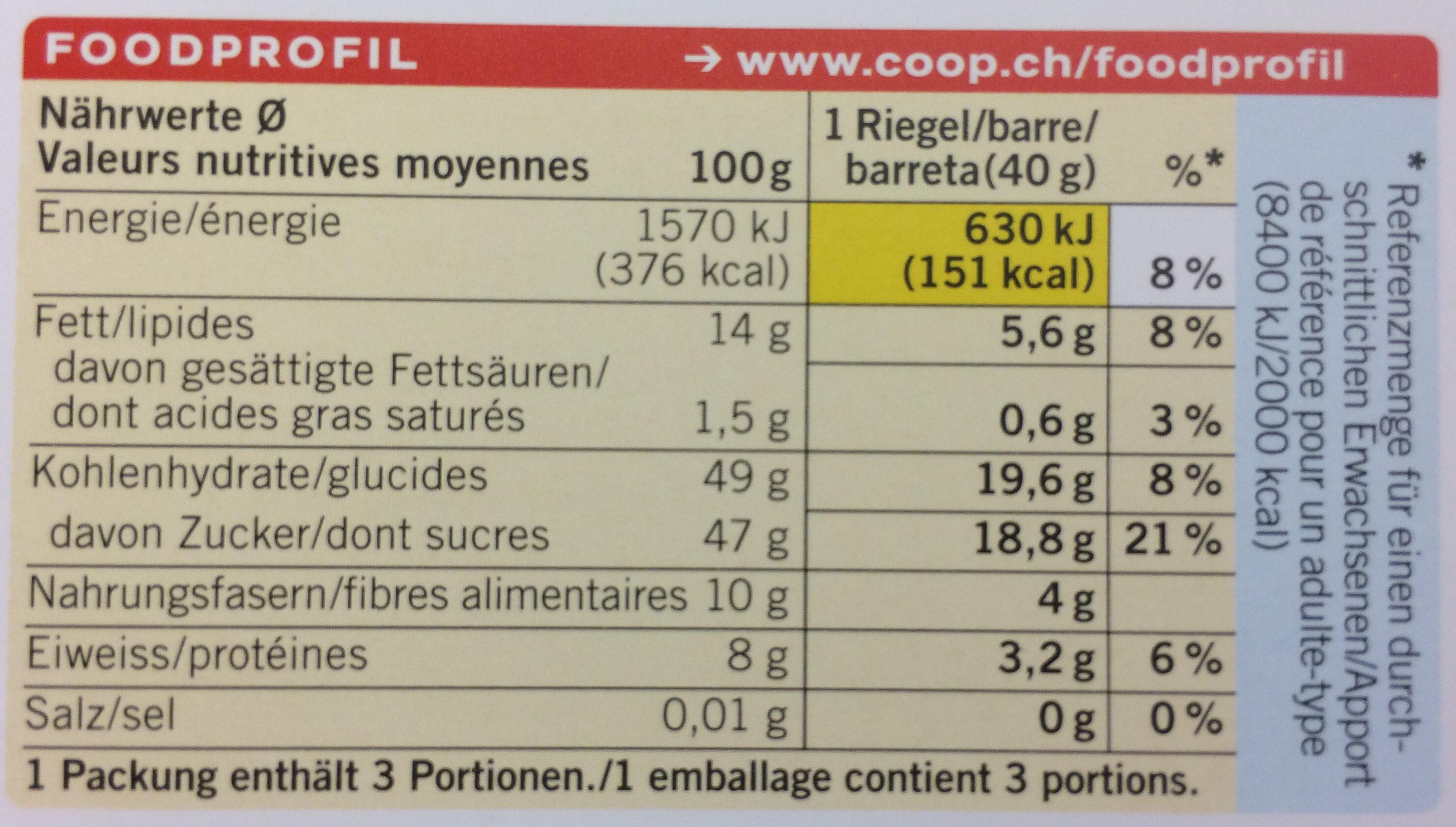 Barre fruitée - Valori nutrizionali - fr