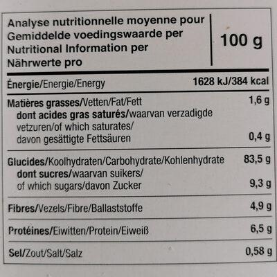 Tartines Bio Craquantes Châtaigne - Informations nutritionnelles - fr