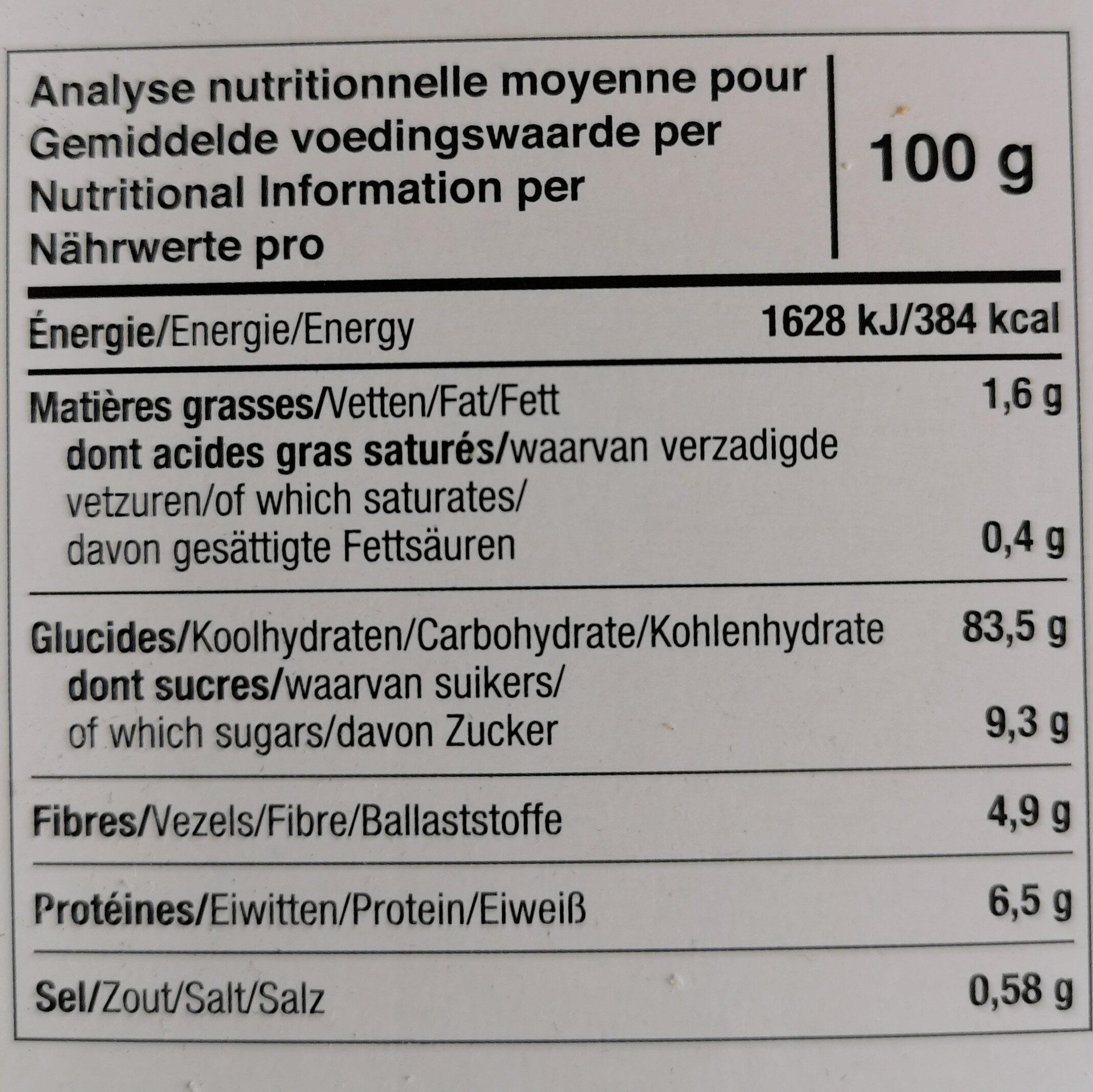 Tartines Bio Craquantes Châtaigne - Voedingswaarden - fr