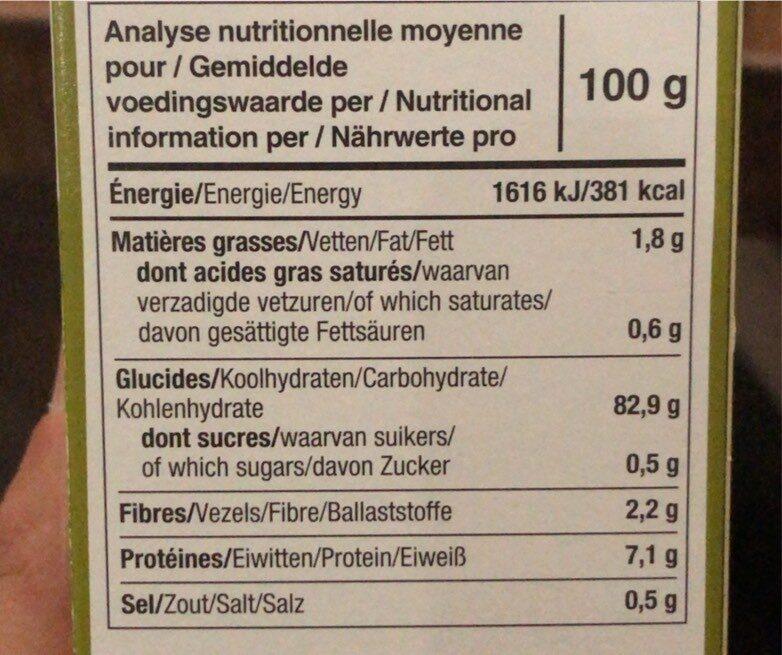 Le pain des fleurs - Voedingswaarden - fr