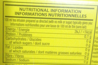 Lipton - Informations nutritionnelles - fr