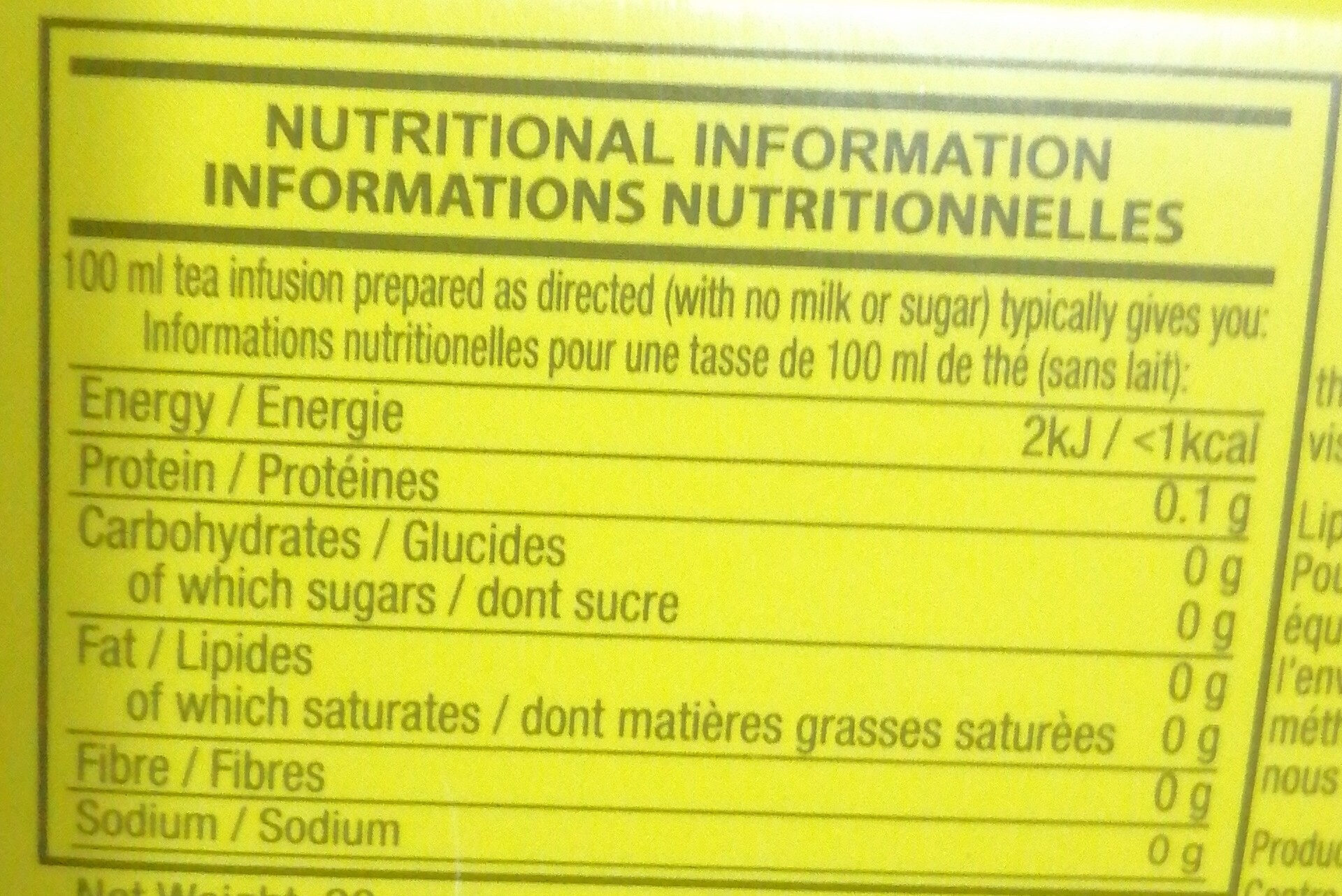 Lipton - Nutrition facts
