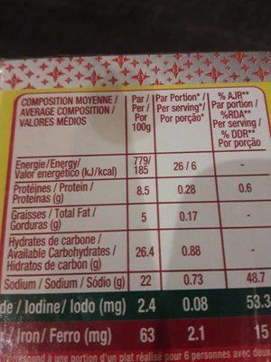 Maggi crevette - Informations nutritionnelles