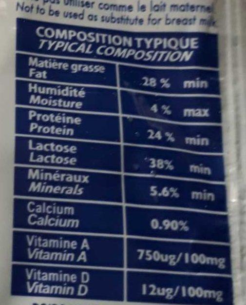 Lait en poudre - Informations nutritionnelles - fr