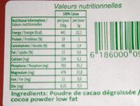 Cacao Intense - Información nutricional - fr
